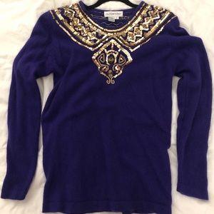 Vintage 80's Silk & Angora Sequin Sweater // Large